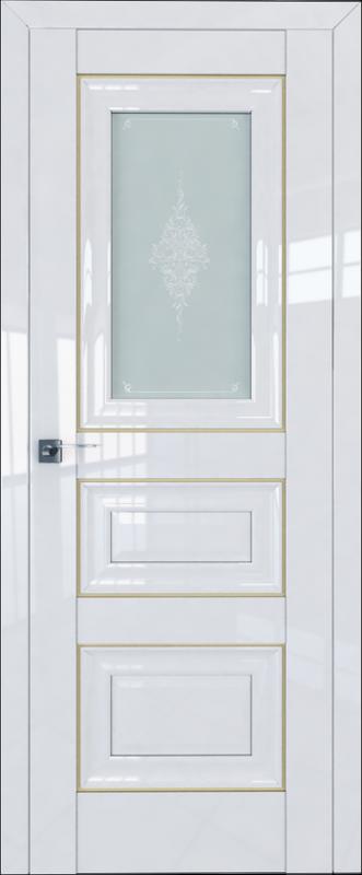 Цвет: Белый Люкс, Молдинг: Золото,  Стекло: Кристалл графит