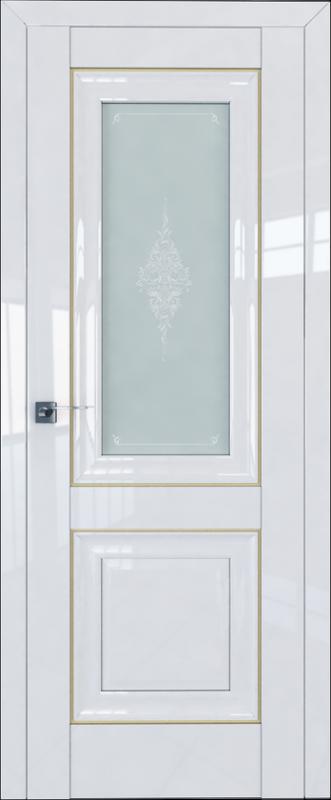 Цвет: Белый Люкс, Молдинг: Золото,  Стекло: Кристалл матовый