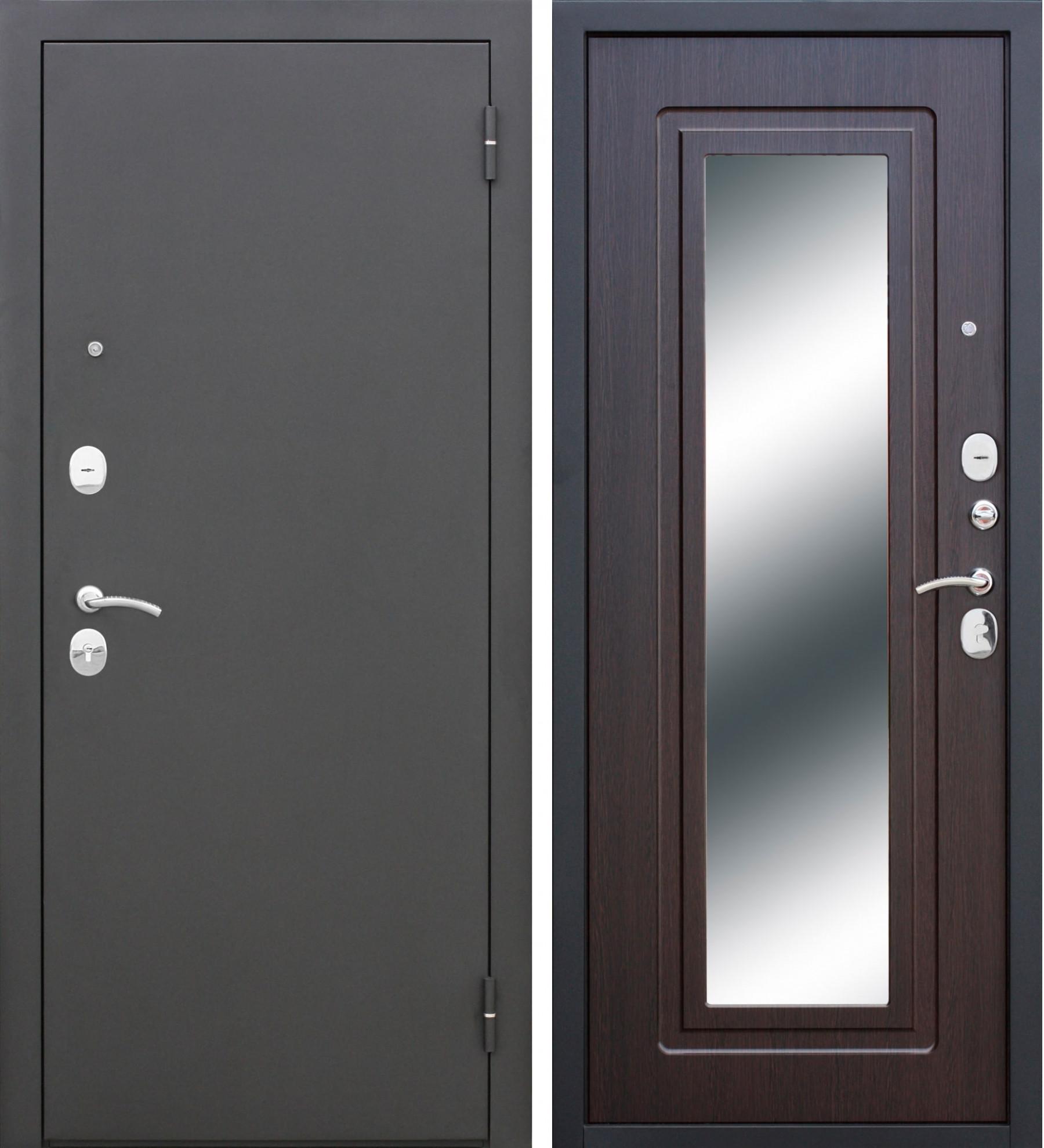 Входная дверь ЦАРСКОЕ ЗЕРКАЛО Муар/Венге/Зеркало с бронеплитой