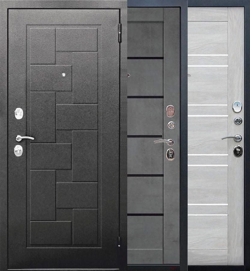 Входная металлическая дверь ГАРДА Серебро Царга/Бетон серый, Шале белый