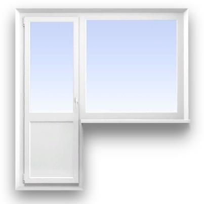 Балконный блок REHAU 3-х камерный (58 мм.)  Размер 2000*700 + 1400*1300 мм. профиль Blitz, фурнитура Maco Eco (с монтажом)