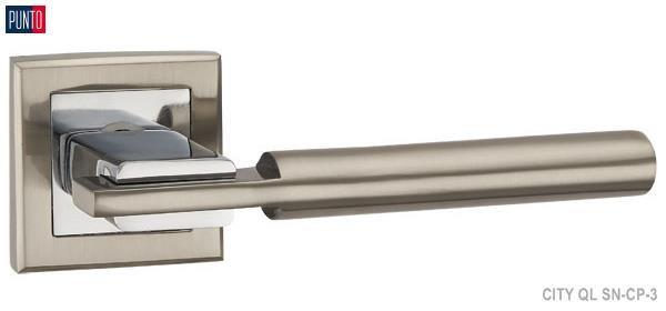 Фурнитура Punto Ручка дверная CITY QL SN/CP-3 матовый никель/хром
