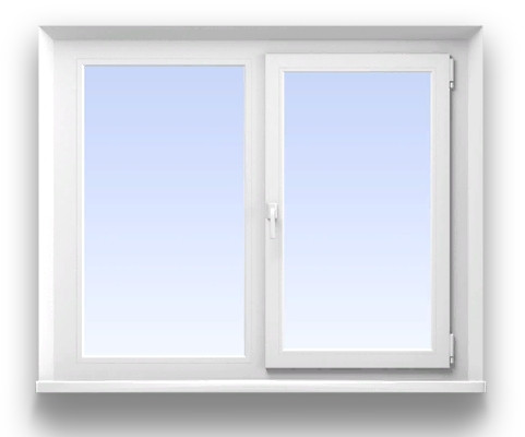 Двустворчатое окно KBE 5-ти камерное   Размер 1400*1400 мм. профиль Эксперт, фурнитура Maco Eco