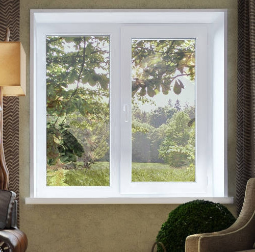 Двустворчатое окно VEKA 3-х камерное (58 мм.)  Размер 1400*1400 мм. профиль EvroLine 58 AD, фурнитура Siegenia Titan AF