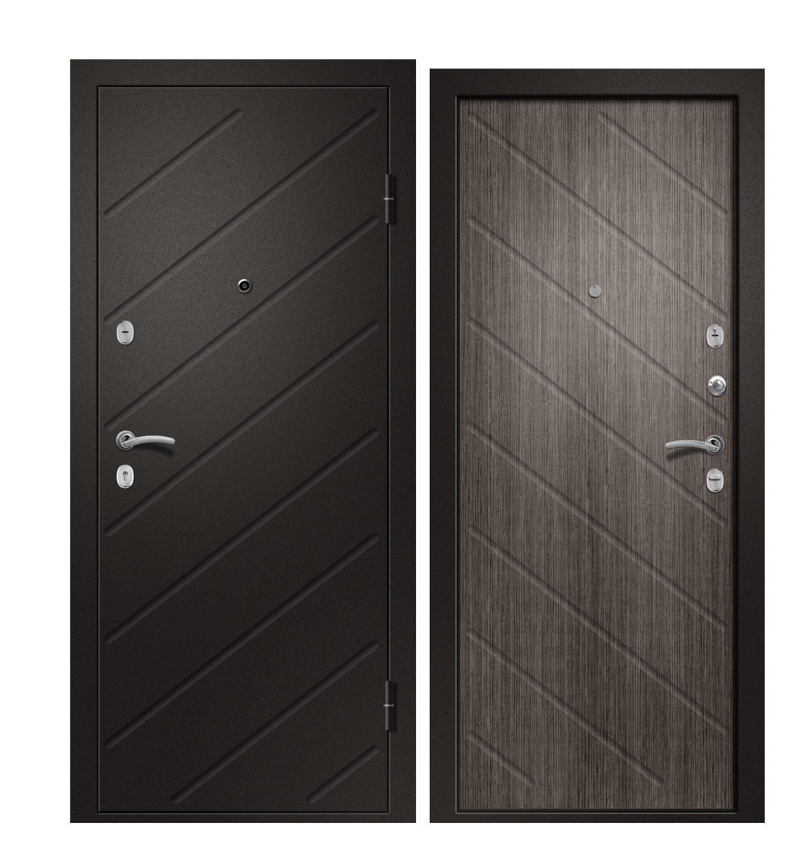 Входная дверь Ника-120 сатин черный / Дуб грей