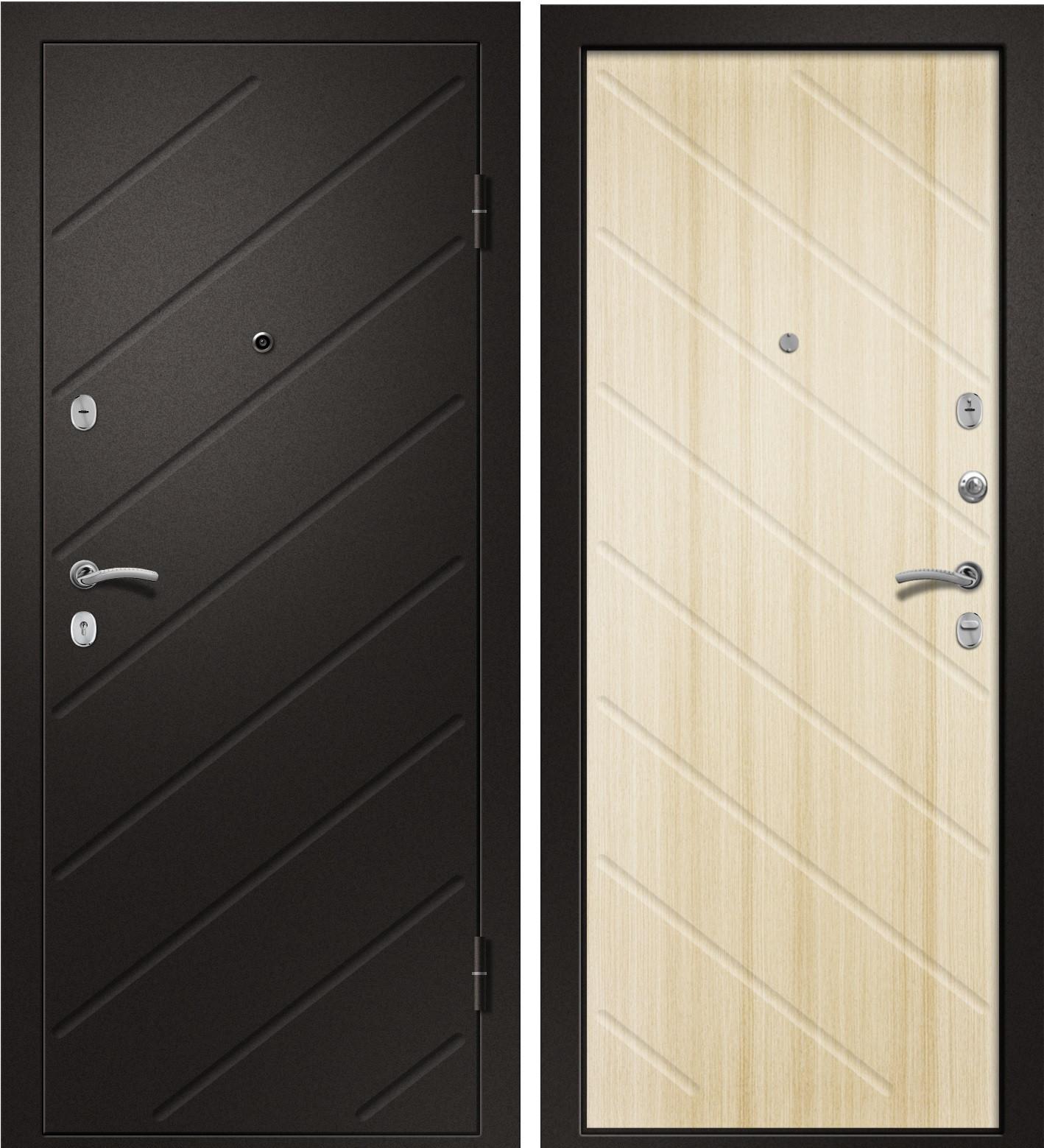 Входная дверь Ника-120 сатин черный / Светлый дуб ЭКО