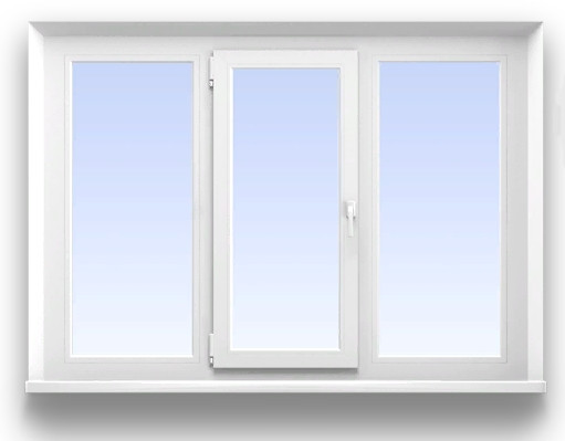 Трехстворчатое окно REHAU 3-х камерное (58 мм.)  Размер 2000*1400 мм. профиль Blitz, фурнитура Maco Eco (с монтажем)