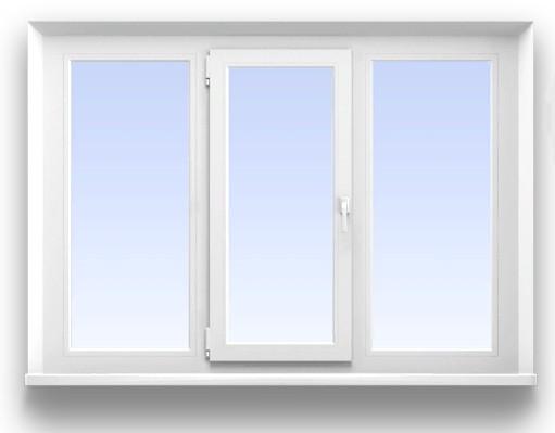 Трехстворчатое окно REHAU 5-ти камерное (70 мм.)  Размер 2000*1400 мм. профиль Grazio, фурнитура Maco Eco (с монтажем)