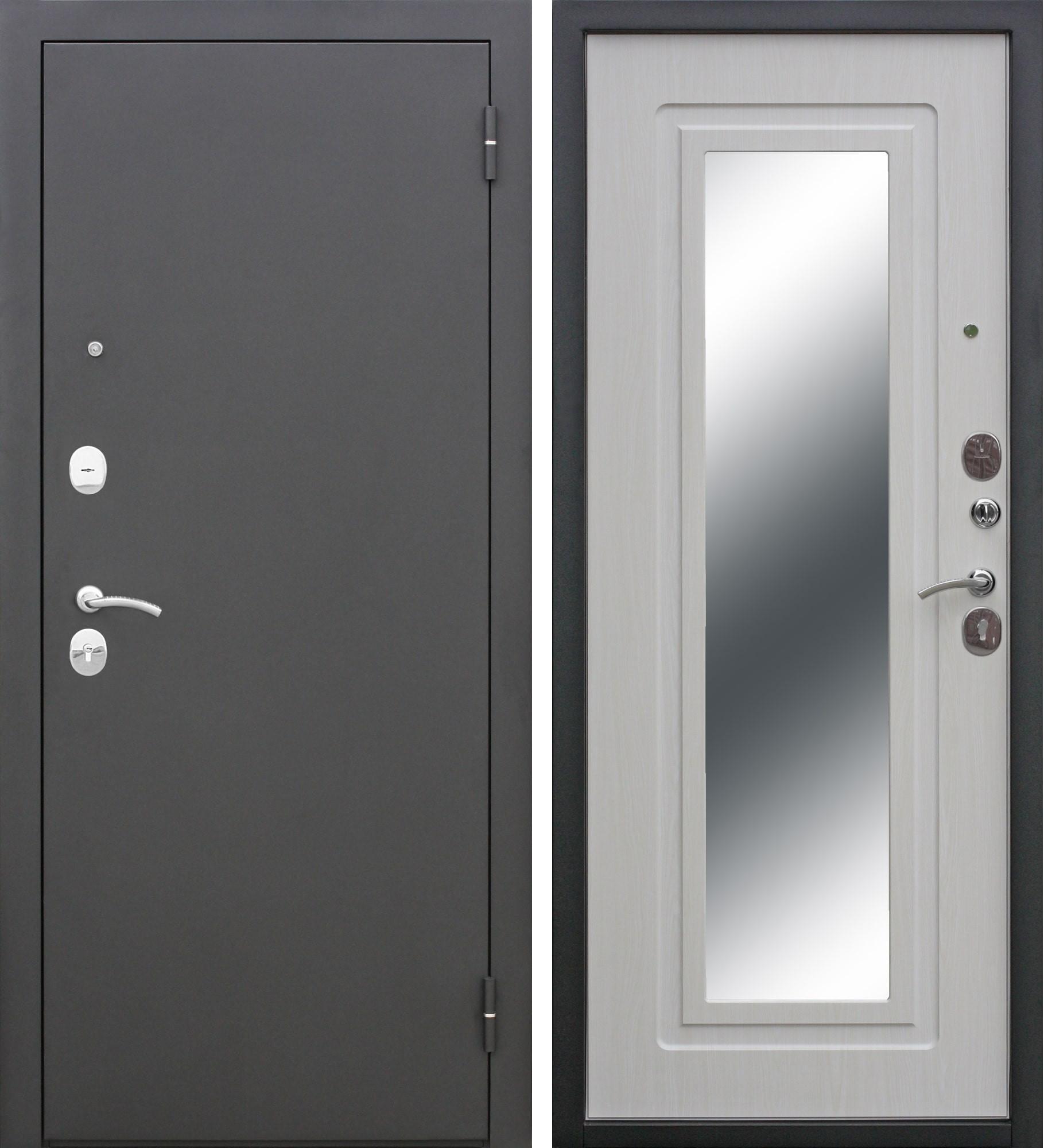 Входная дверь ЦАРСКОЕ ЗЕРКАЛО Муар/Ясень белый/Зеркало с бронеплитой