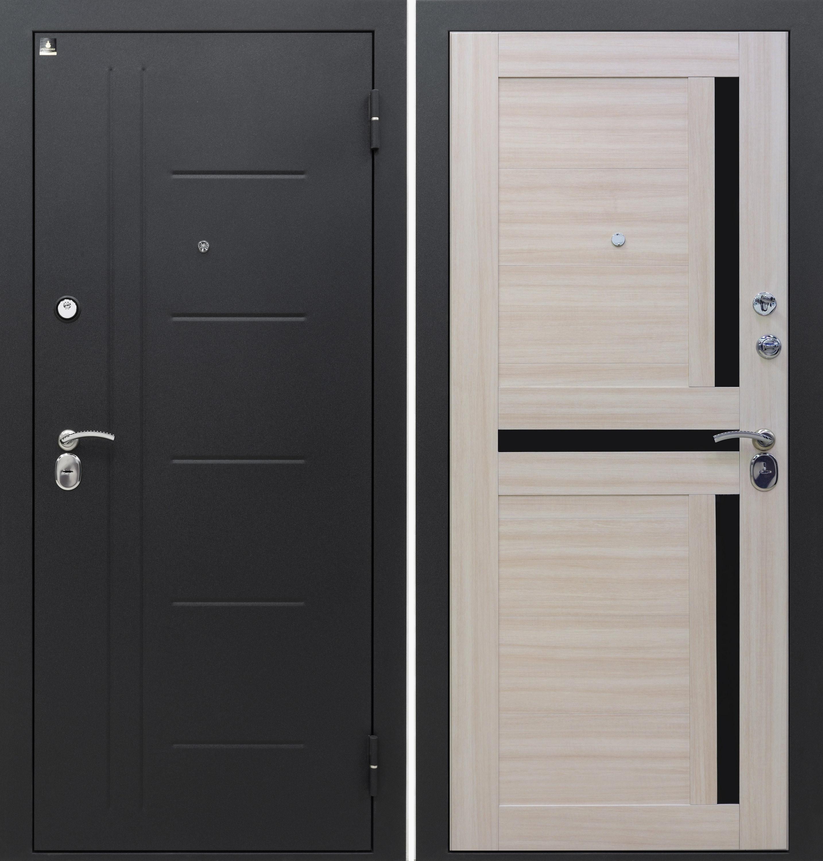 Входная дверь Аризона-217 Сатин черный / Дуб светлый ЭКО S-4 (черн.лак)