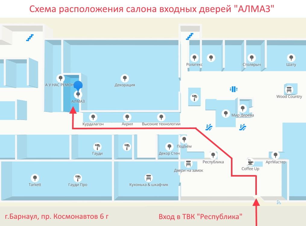 """Схема расположения фирменного салона входных дверей """"Алмаз"""""""