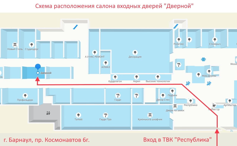"""Схема расположения фирменного салона входных дверей """"Дверной"""""""